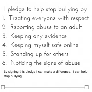 I pledge to help stop bullying by1. Not (1)